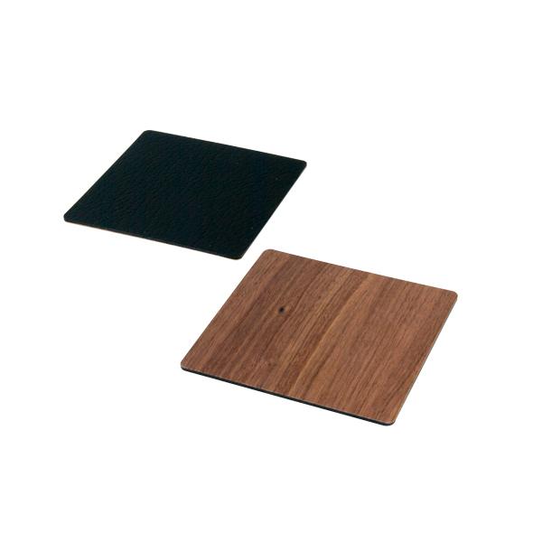 Lind DNA Glasunderlägg Double Square 10x10 cm Double Wood Walnut/Softbull Black