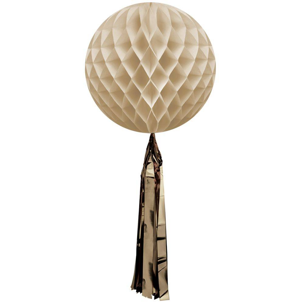 Honeycomb ball with tassel Sand/Gold