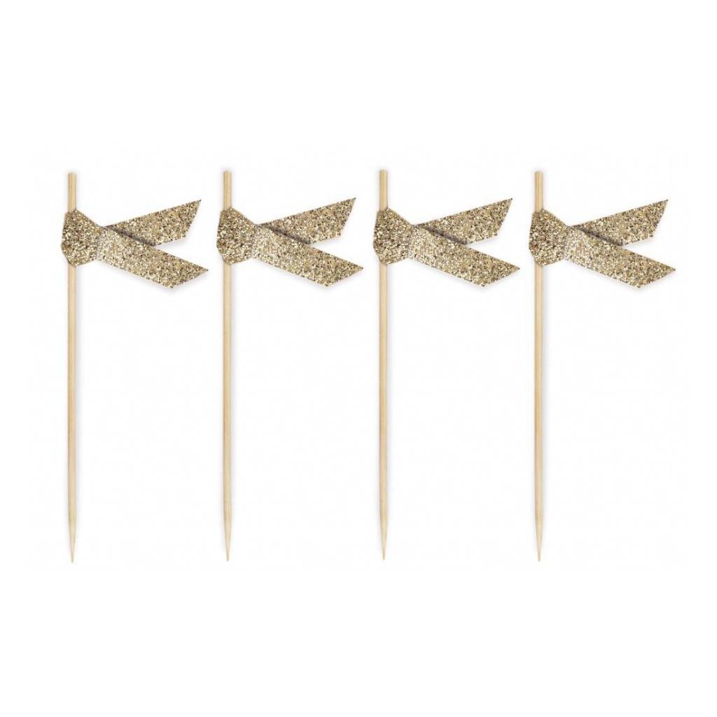 Coctailpinnar Glitter Gold 20-pack