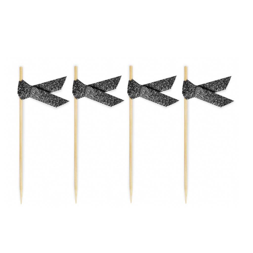 Coctailpinnar Glitter Black 20-pack
