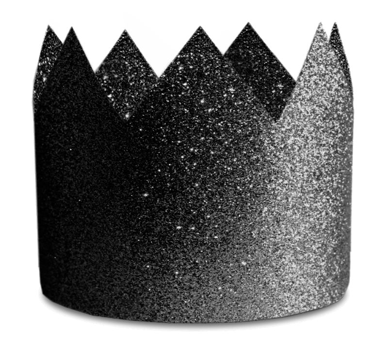 Party hats Crown Glitter Black 8-pack