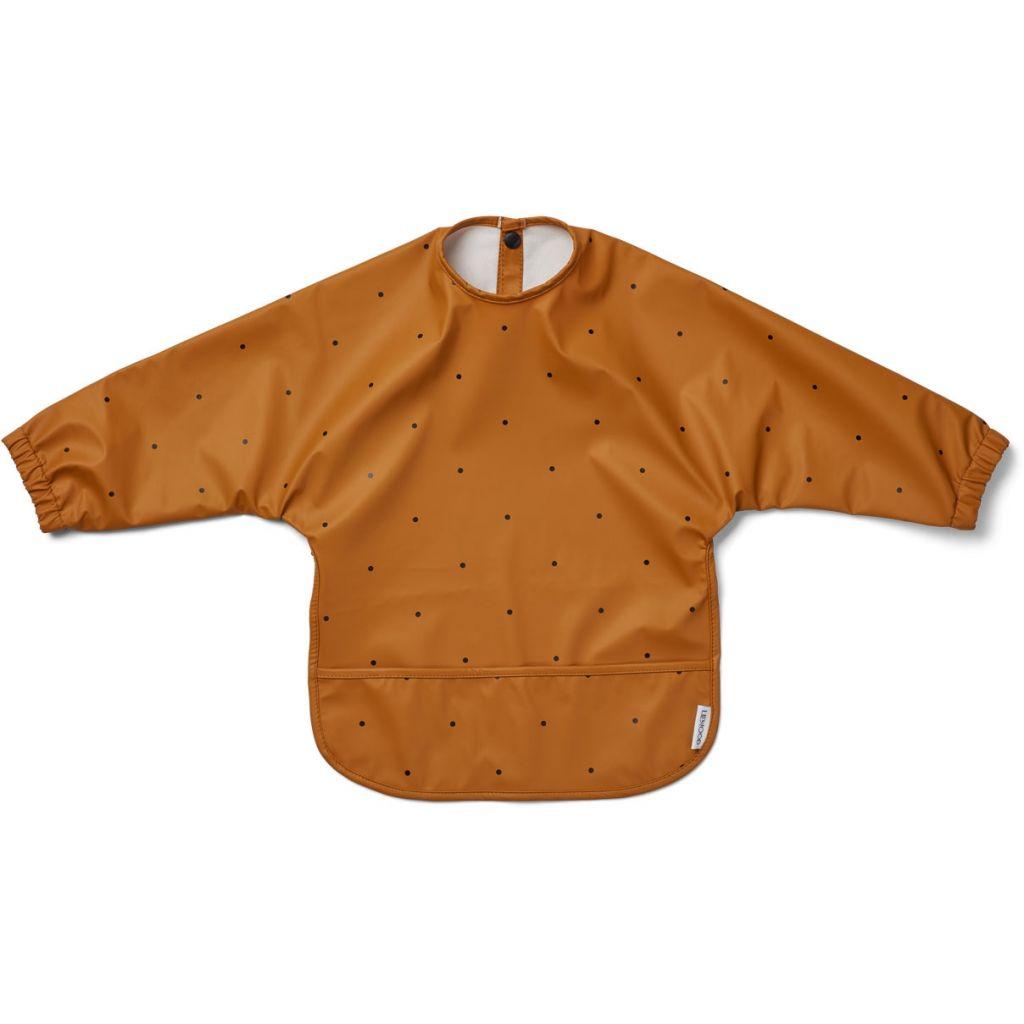 Liewood Merle Sleeved Bib Dot Mustard
