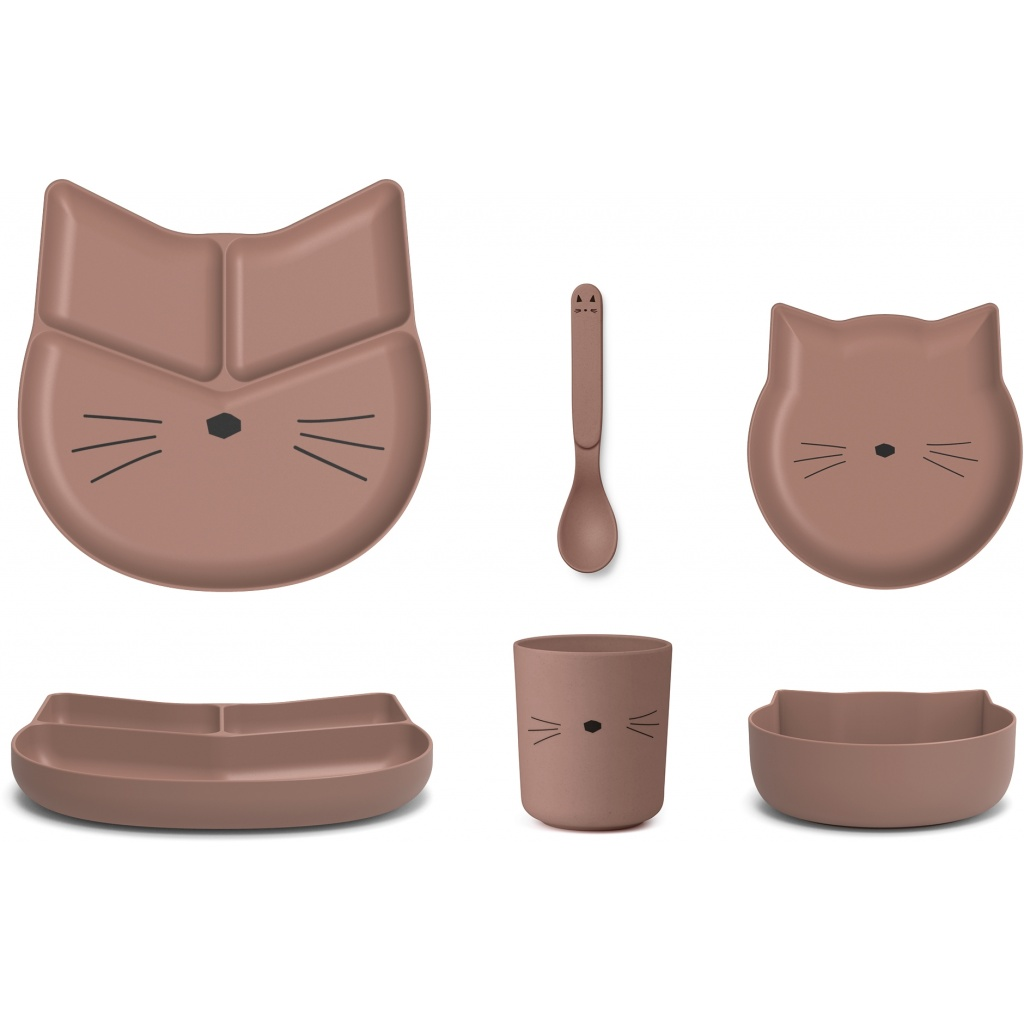 Liewood Jules Bamboo Junior Set Cat Dark Rose