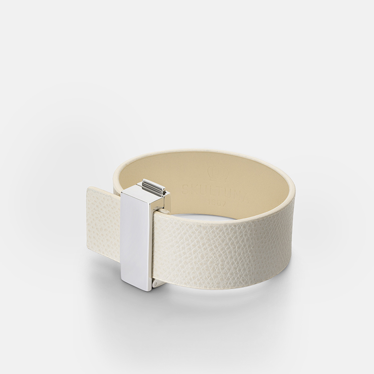 Skultuna Armband Clasp Leather Bracelet Thin Silver - White
