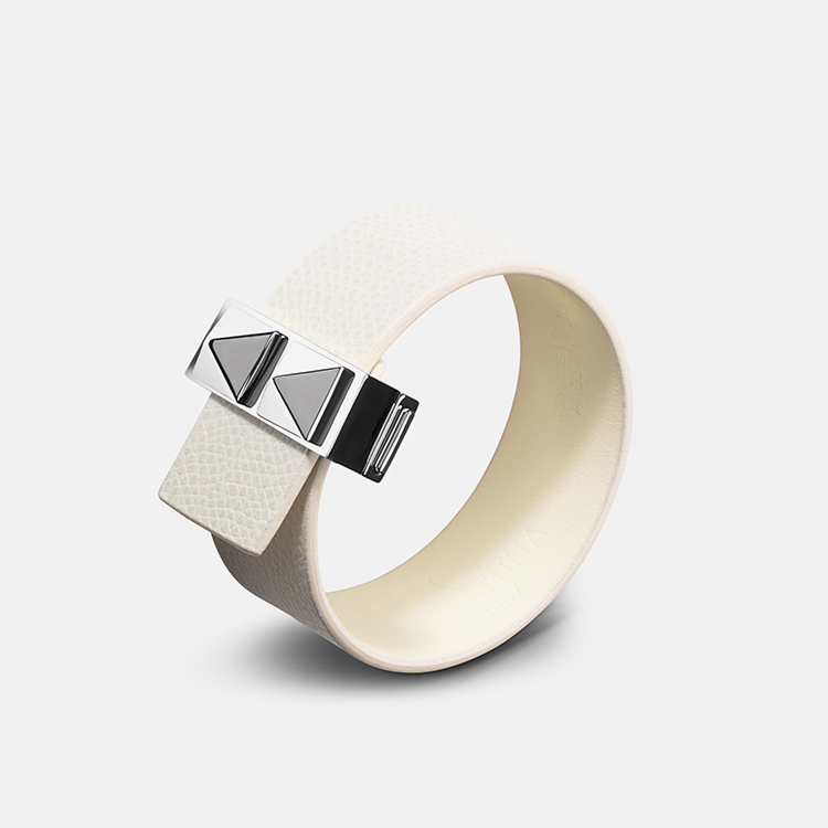 Skultuna Armband Clasp Rivets Thin Bracelet Silver - White