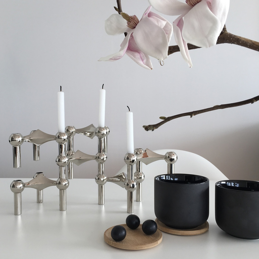STOFF Nagel Candle Holder Krom