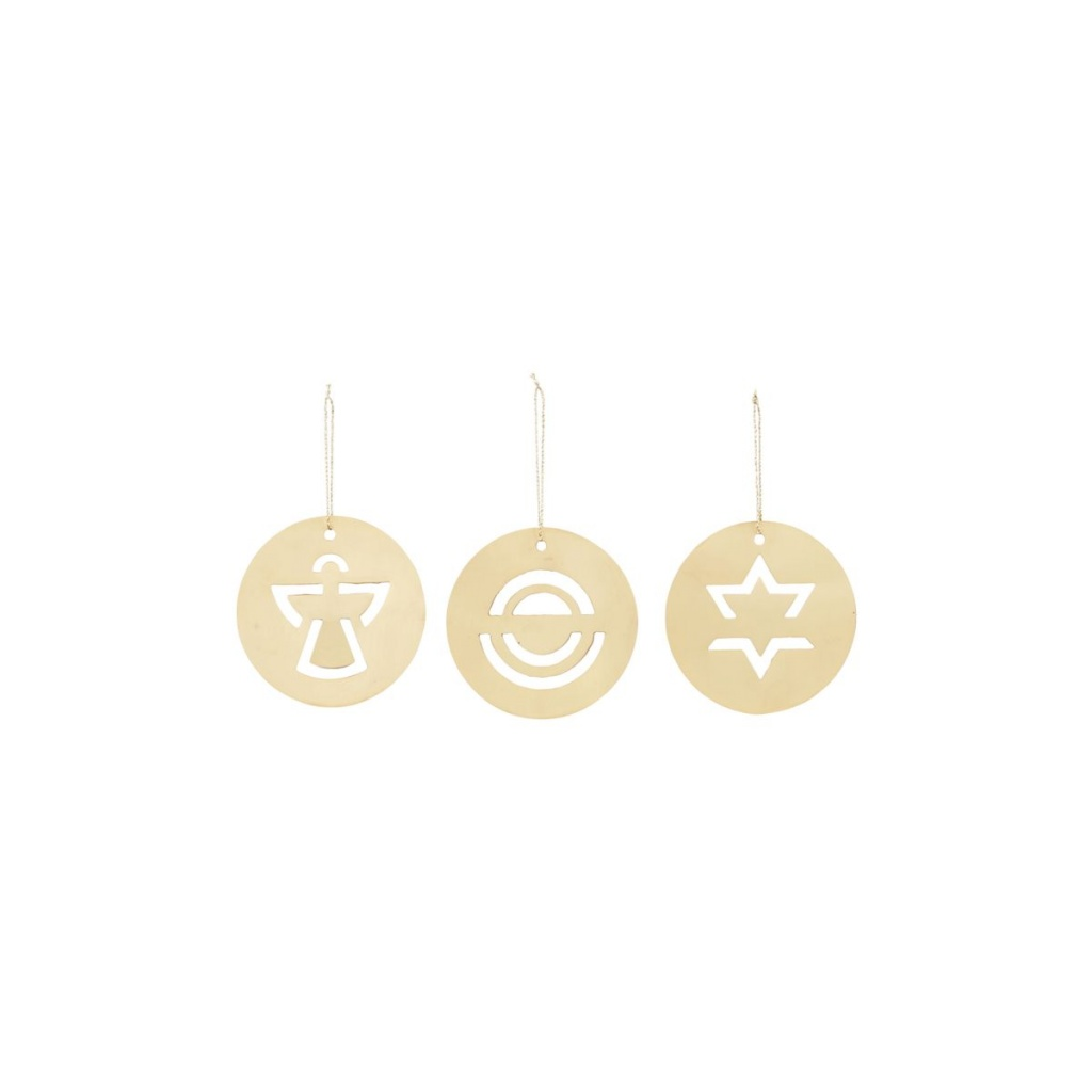 House Doctor Ornament Plates Brass 3-pack
