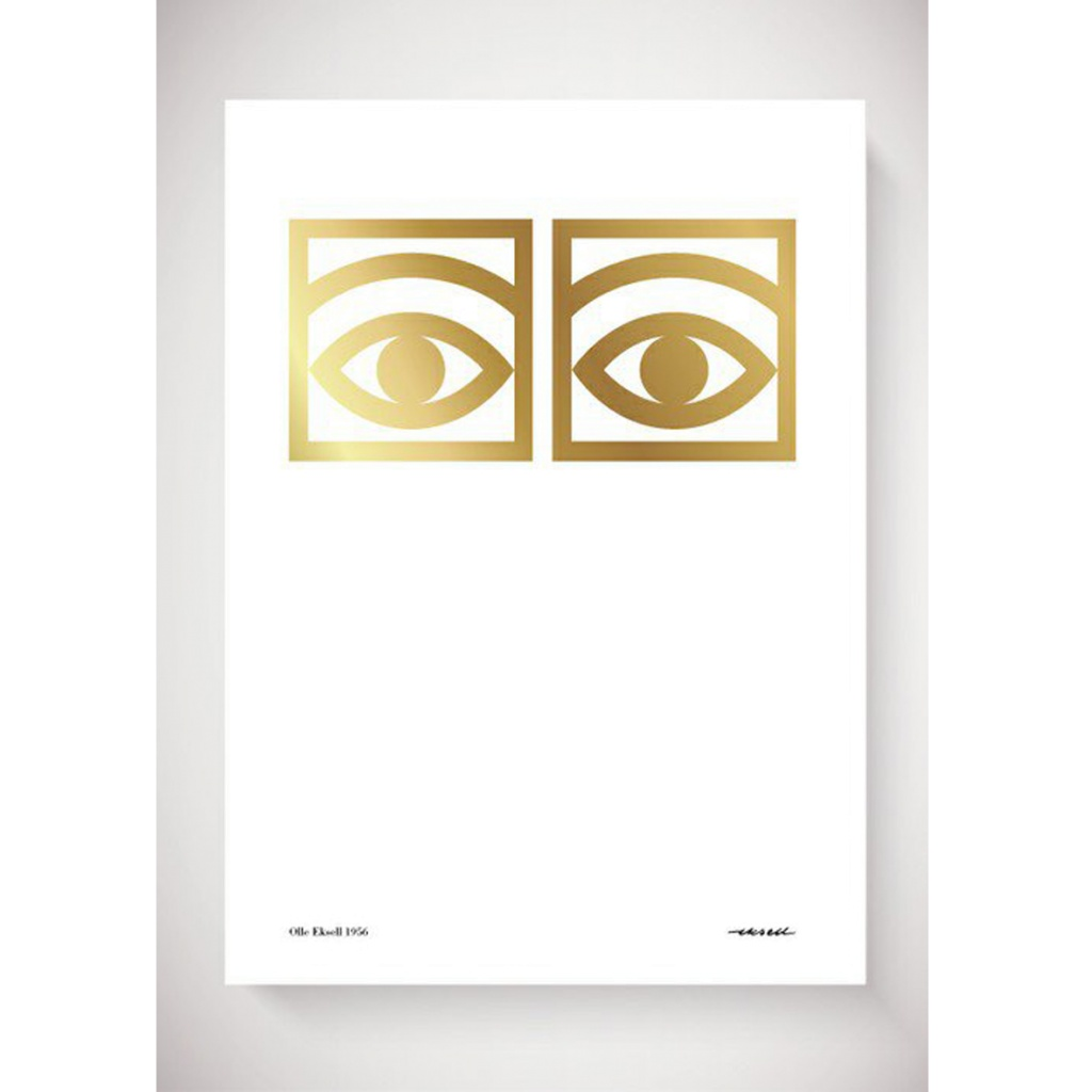 Olle Eksell Ögon Cacao One Eye Gold 50×70 cm
