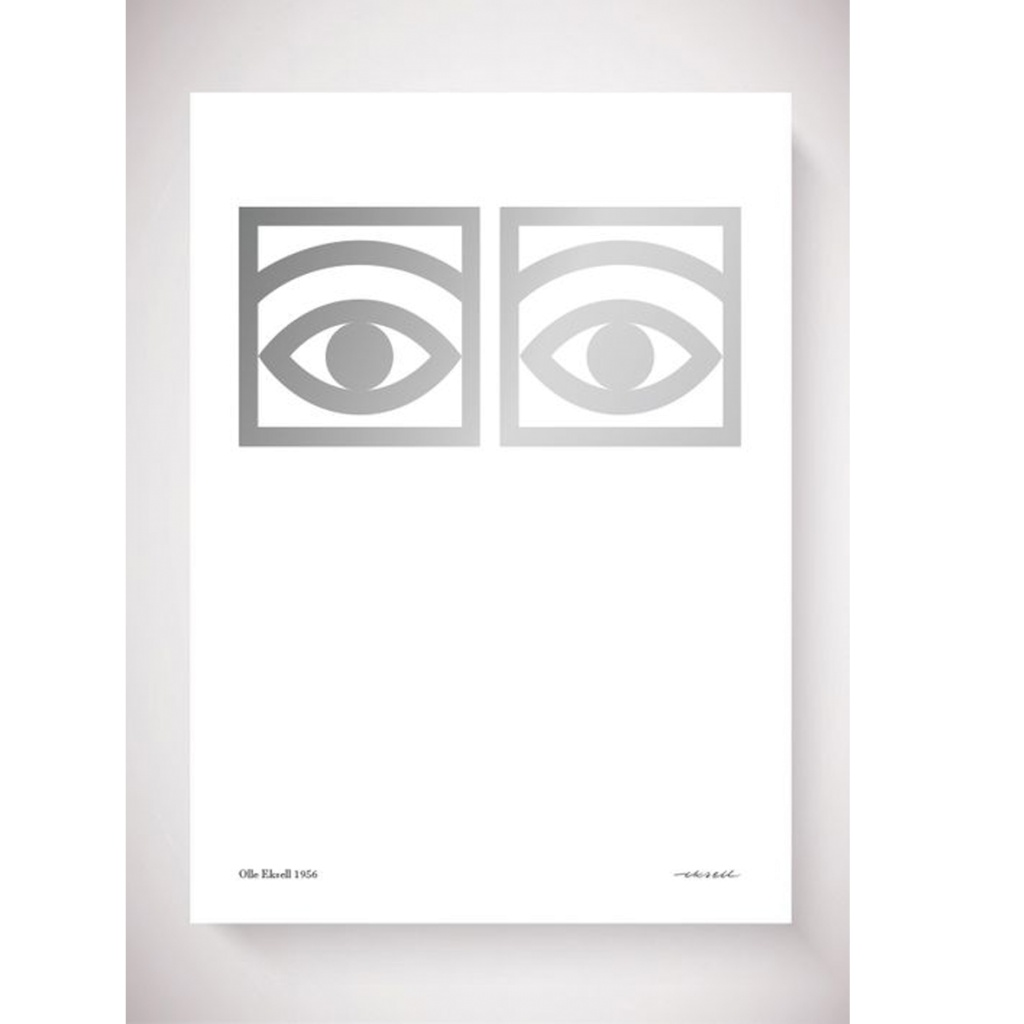Olle Eksell Ögon Cacao One Eye Silver 50×70 cm