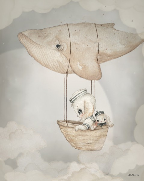 Mrs Mighetto Ocean Kids Poster 40x50 Flying Whale