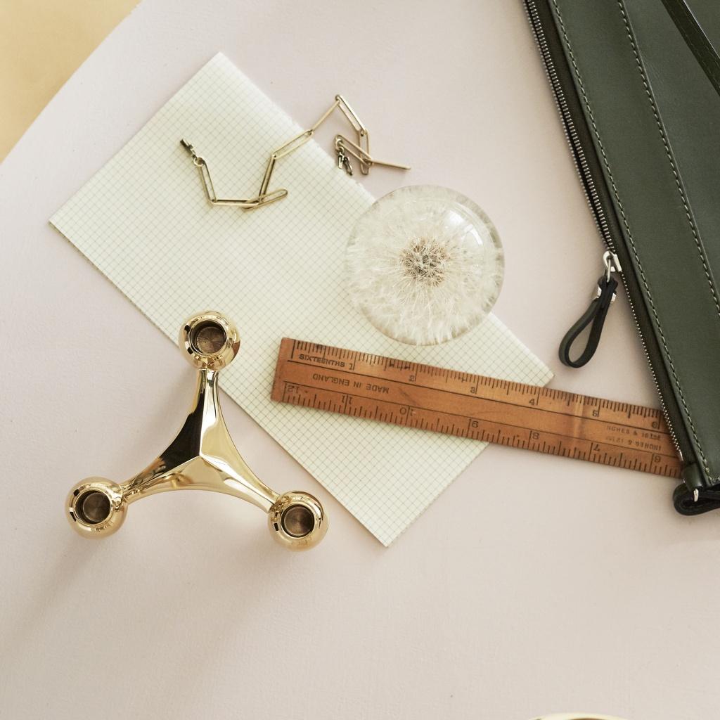 STOFF Nagel Candle Holder Brass