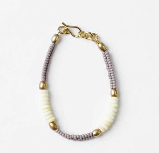 Malaika camel white beads bracelet
