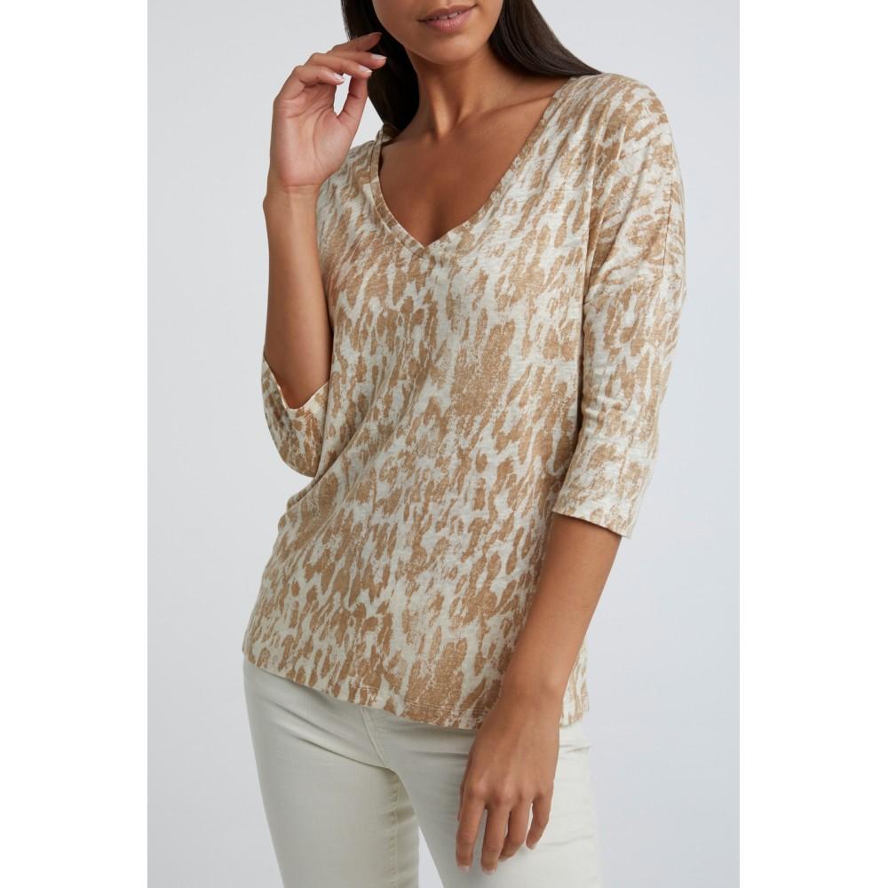 Yaya Linen V-neck T-shirt