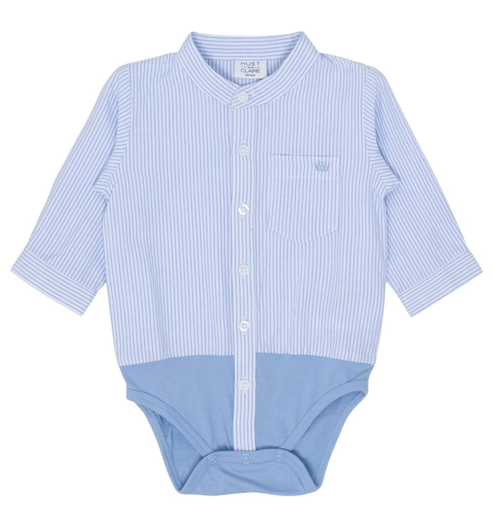 Skjortbody, randig vit- och ljusblå