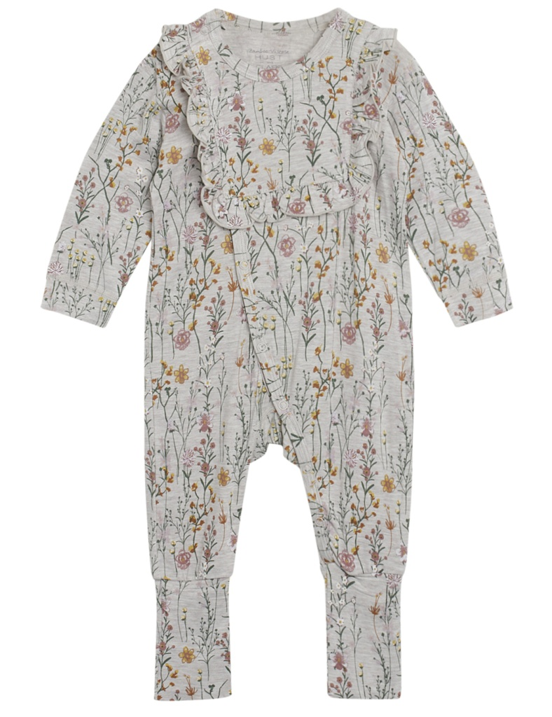 Heldress pyjamas blommönstrad (bambu-Wheat)