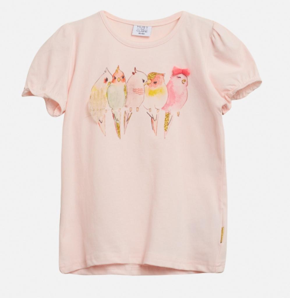 Topp rosa med fågeltryck