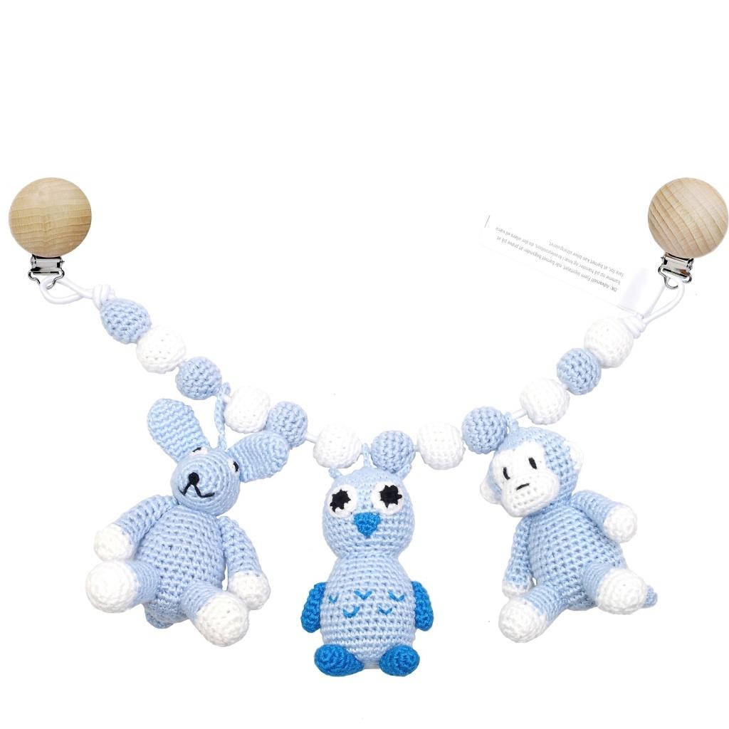 Barnvagnsmobil - Rabbit, owl and monkey (light blue)