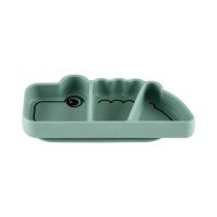 Tallrik med fack Silicone Stick&Stay Croco Green