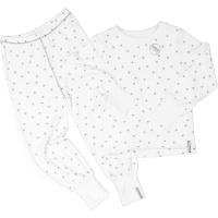 Pyjamas  - 2 delad Vit/grå prickar, bambu