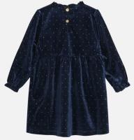 Klänning Dinea velour blå-guldprickar