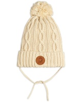 Mössa - Cable knitted pompom Offwhite