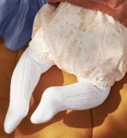 Strumpbyxa Paeonia - vit mönsterstickad