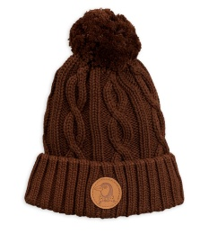 Mössa - Cable knitted pompom Brown