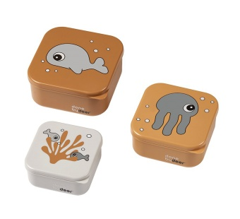 Snack box - set 3 pack Sea friends Mustard/Grey