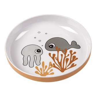 Tallrik - Yummy mini plate Sea friends Mustard/Grey