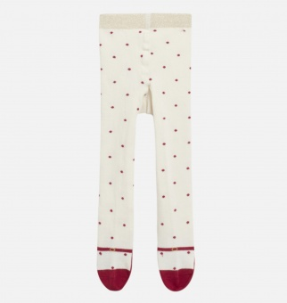 Strumpbyxa vita med röda prickar