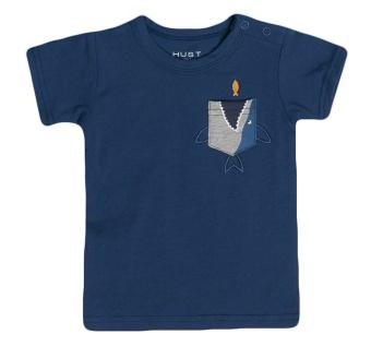 T-shirt blå med mönstrad ficka