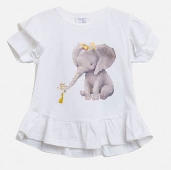 Topp vit med elefant