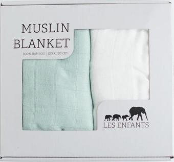 Muslin Blanket 2-pack Grön/Vit