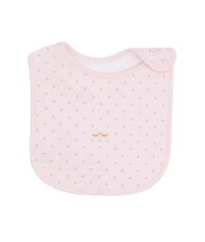 Haklapp Saturday Bib baby pink/gold dots