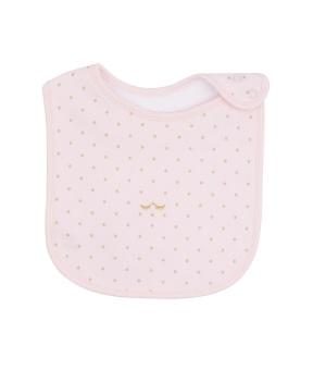 Saturday Bib baby pink/gold dots