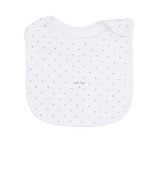 Saturday Bib white/silver dots