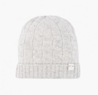 Mössa - CABLE KNIT CASHMERE HAT - grå