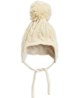 Mössa - Cable knitted baby Offwhite