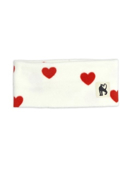 Pannband/Tube - Hearts fleece (Offwhite)