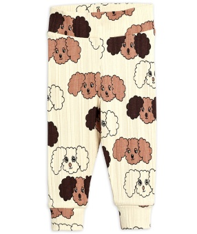 Leggings - Fluffy dog aop new born (beige)