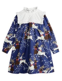 Klänning - Reindeer woven (Blue)