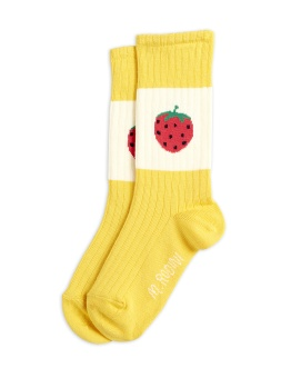 Strumpa - Strawberry ribbed socks yellow