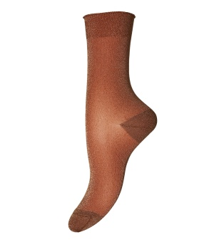 Strumpa (Dam) Pernille glittrig rostbrun