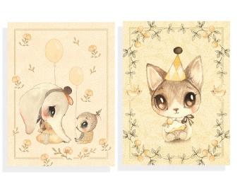 2-Pack kort - Ellie & Meow (A6)