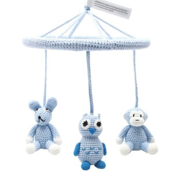 Mobil - Monkey, owl and rabbit light blue