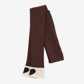 Leggings - Ribbed heart leggings - brown