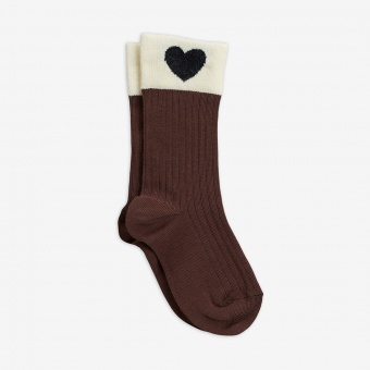 Strumpor - Heart socks - brown