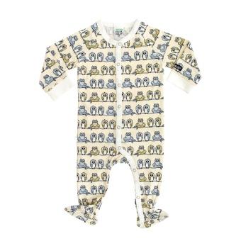 Pyjamas med fot Ugglor (Lgt Wheat)