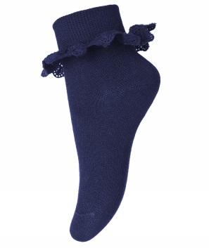 Strumpa med spets marinblå