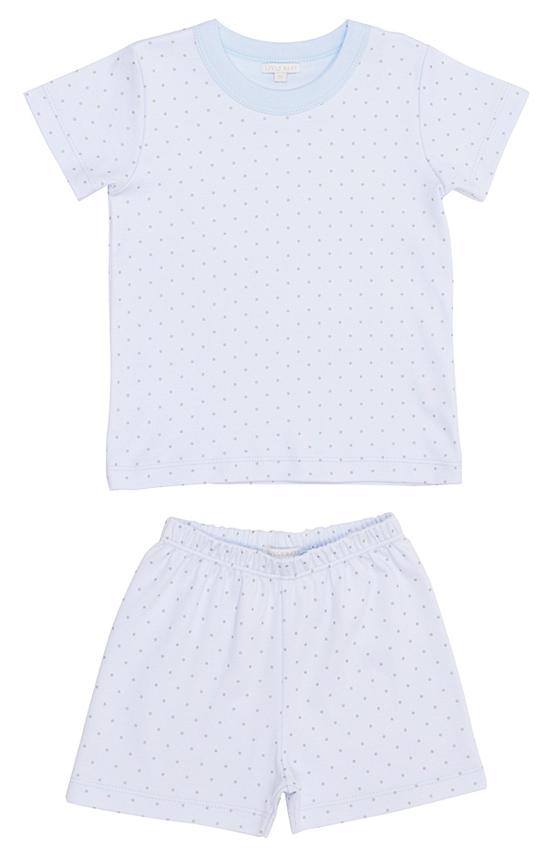Sommarpyjamas blå/silver prickar 2-delar